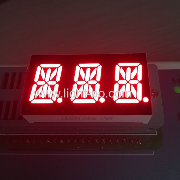 Ultra Red Triple Digit Alphanumeric Led Display , 0.54 Inch 14 Segment Display